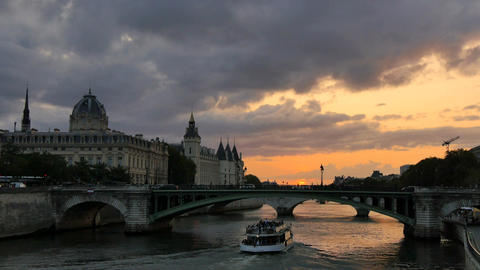 Seine River in Paris at Sunset Footage