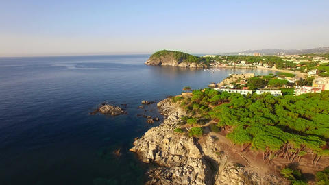 Unspoiled Mediterranean Seaside Aerial Drone View at Dawn ビデオ