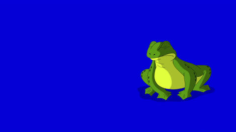 Frog Croaking and Jumping isolated on Blue Screen Animation