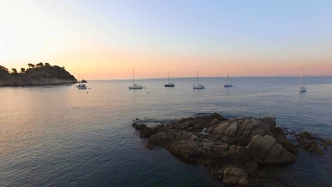 Unspoiled Mediterranean Seaside Beach Aerial Drone at Sunrise Footage