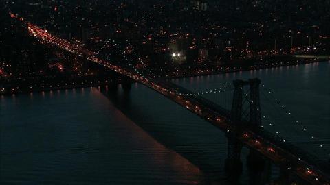 Aerial nyc williamsburg bridge at dusk Footage