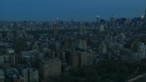 Nyc dawn downtown aerial Footage