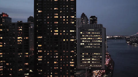 New york cityscape at night aerial view Live Action