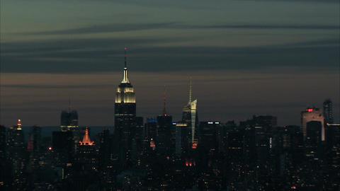 Empire state building nightlife aerial Footage