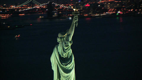 Circling around to front of statue of liberty Footage