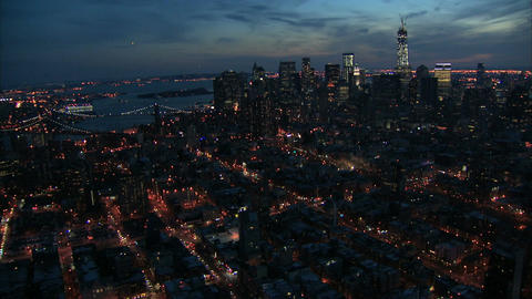 Nyc aerial zoom in freedom tower Live Action