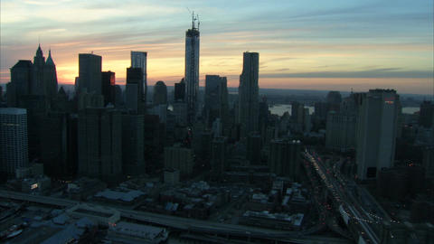 Sunrise freedom tower and financial district nyc aerial Footage