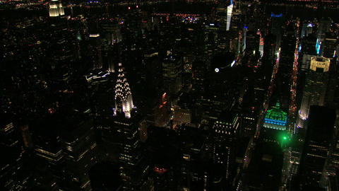 Zoom out nyc chrysler building aerial Live Action