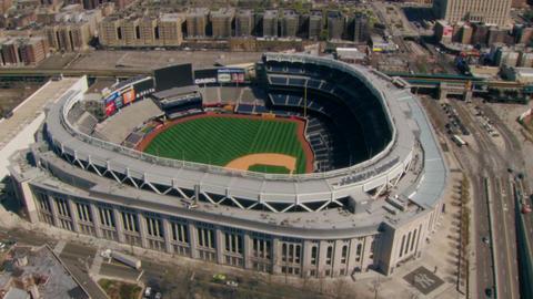 Beautiful yankee stadium aerial view Footage