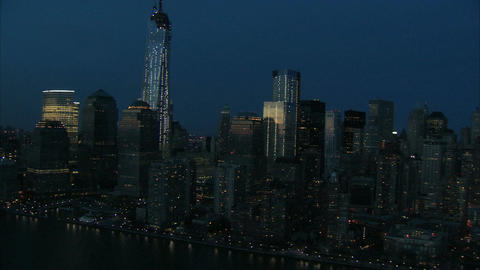 Nighttime downtown manhattan aerial Footage
