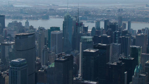 New york city sweeping aerial to empire state building Live Action