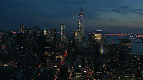 Nighttime downtown manhattan view aerial Footage