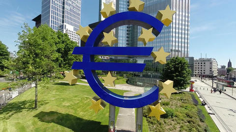 Euro sign eu european central bank banking frankfurtfor editorial use only Footage