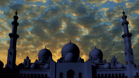 Sheikh Zayed Grand Mosque time lapse at sunset Footage