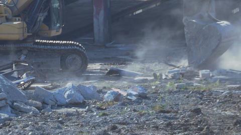 Excavator Cleans the Debris Footage