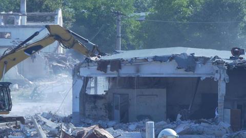 Excavator Demolishes Building Footage