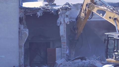 Excavator Demolishes Walls Footage