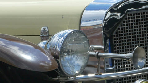Headlights and Horn of Vintage Car Footage
