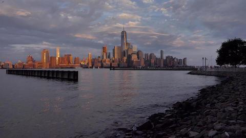 New York Night Manhattan Skyline Live Action