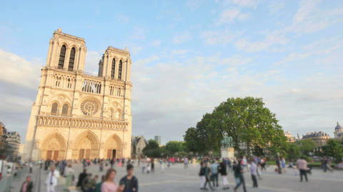 Notre Dame Cathedral Paris Crowded at Sunset Time Lapse Blurred Footage
