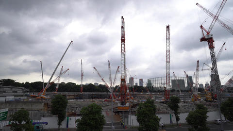 National Stadium under construction in Tokyo Live Action
