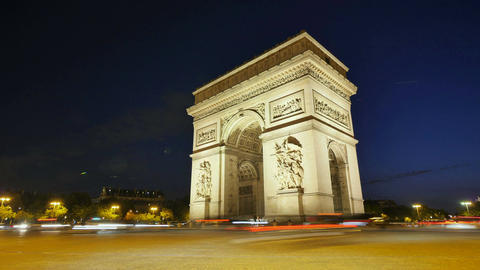 Arch of Triumph of Paris in the Champs Elysees Time Lapse at Night Footage