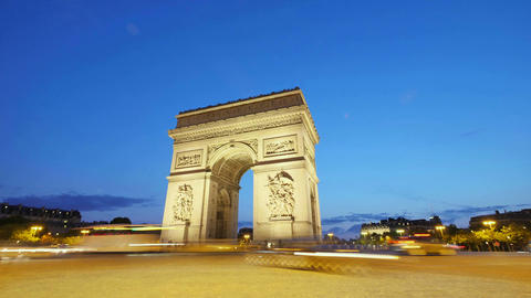 Arch of Triumph of Paris in the Champs Elysees Time Lapse at Sunset Footage