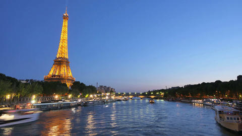 Eiffel Tower in Paris Time Lapse from Day to Night Footage