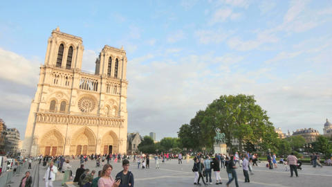 Notre Dame Cathedral Paris Crowded at Sunset Time Lapse Footage