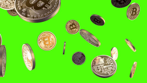 Bitcoins are falling on a green background Animation
