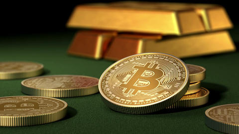 Bitcoins and Gold Ingots on a green table Animation