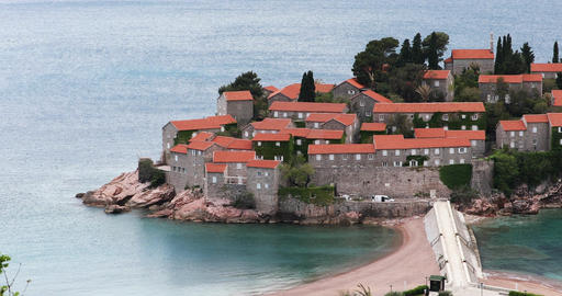 Sveti Stefan Hotel Island in Budva, Montenegro Live Action