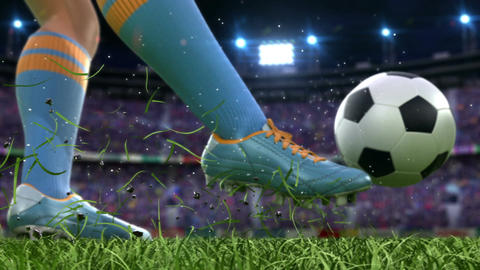 Shooting on goal in slow motion Animation