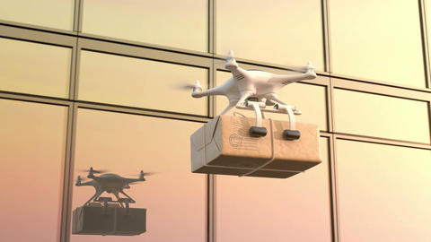 Morning delivery, Quadcopter with a package flies against an office building Animation