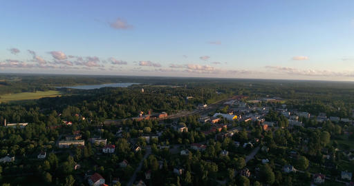 Small city, Cinema 4k aerial sideway view of Karis city, on a sunny evening dawn Footage