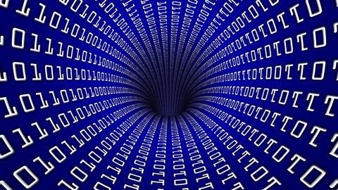 Binary Code Network tunnel hole 60 fps Animación