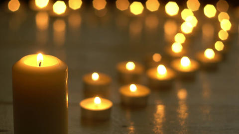 Candles burning lights for romantic theme Footage