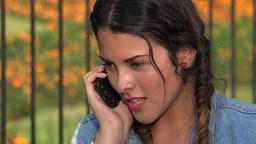 Confused Angry Teen Girl On Cell Phone Footage