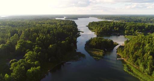 Island narrows, Cinema 4k aerial view flying over island strait, in uusimaa Footage