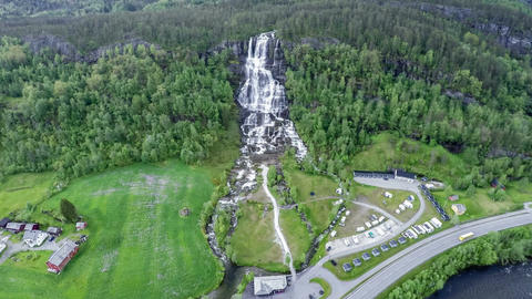 Aerial footage from tvindefossen waterfall from the birds eye view norway Footage