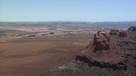 Aerial shots of red rock desert buttes Footage