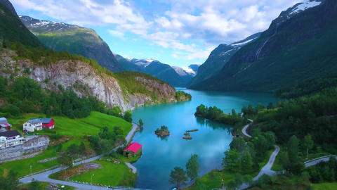 Beautiful nature norway natural landscape aerial footage lovatnet lake Footage