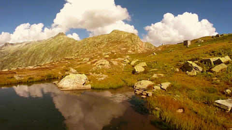 Lake water reflection epic mountain landscape scenery peaceful nature Live Action