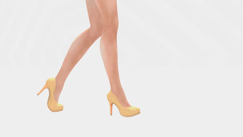 Female legs in high heels on white background Footage