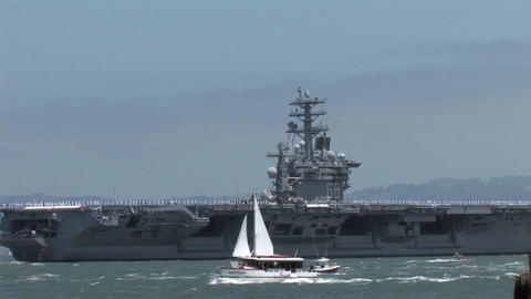 Navy Aircraft Carrier Sailing into the San Francisco Bay Footage