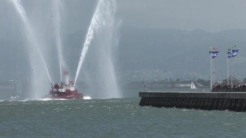 A Fire Fighting Boat in the San Francisco Bay Shooting Water 2 Footage