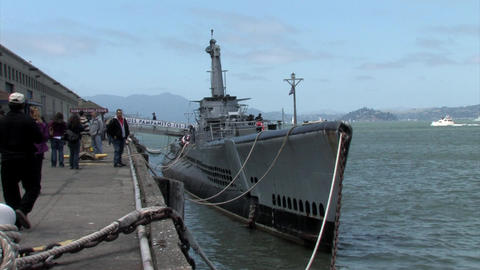 An old Diesel Submarine docked at Pier 39, San Francisco, California 2 Footage
