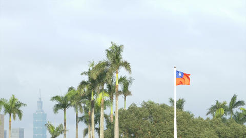 Taiwan flag on windy day, with Taipei 101 in background Footage