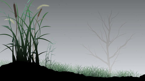 Animated Grass and Tree Background Animation