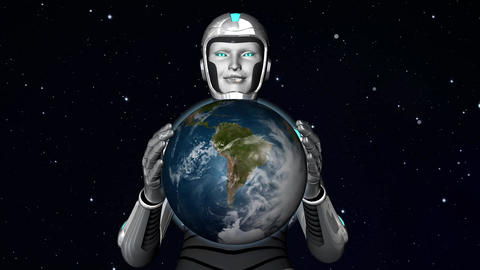 cyborg alien holding planet Earth Animation